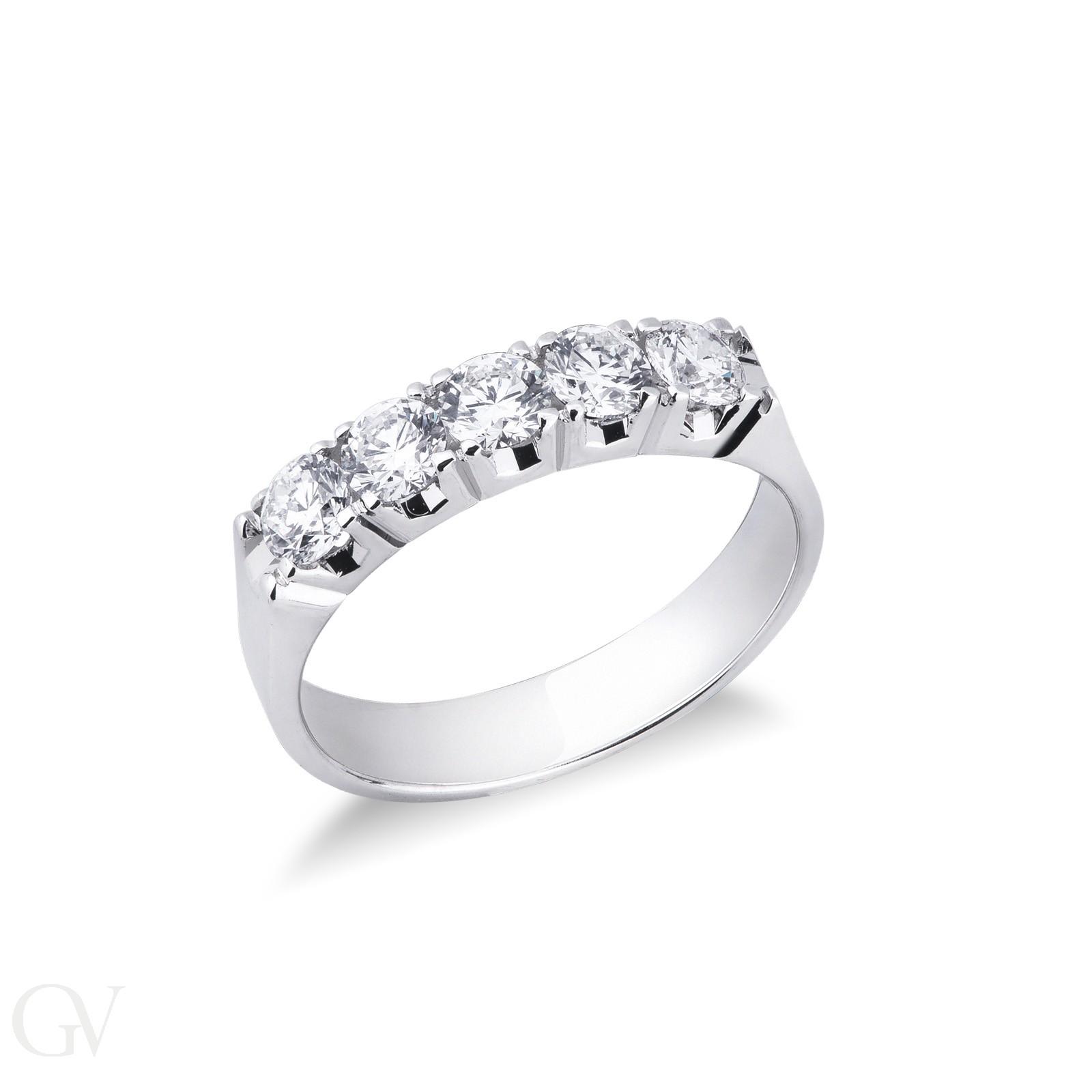 Anello Veretta a cinque pietre in Oro bianco 18k con diamanti ct. 1,00