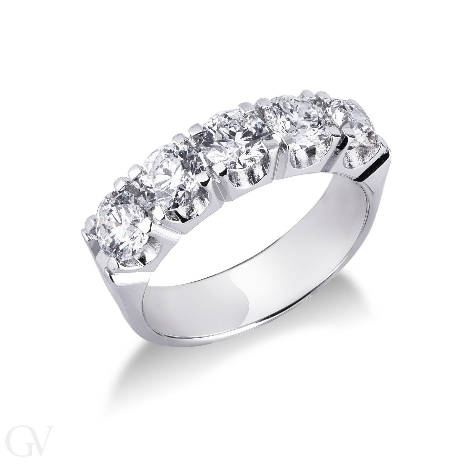Anello Veretta a 5 pietre in Oro bianco 18k con diamanti ct. 2,00