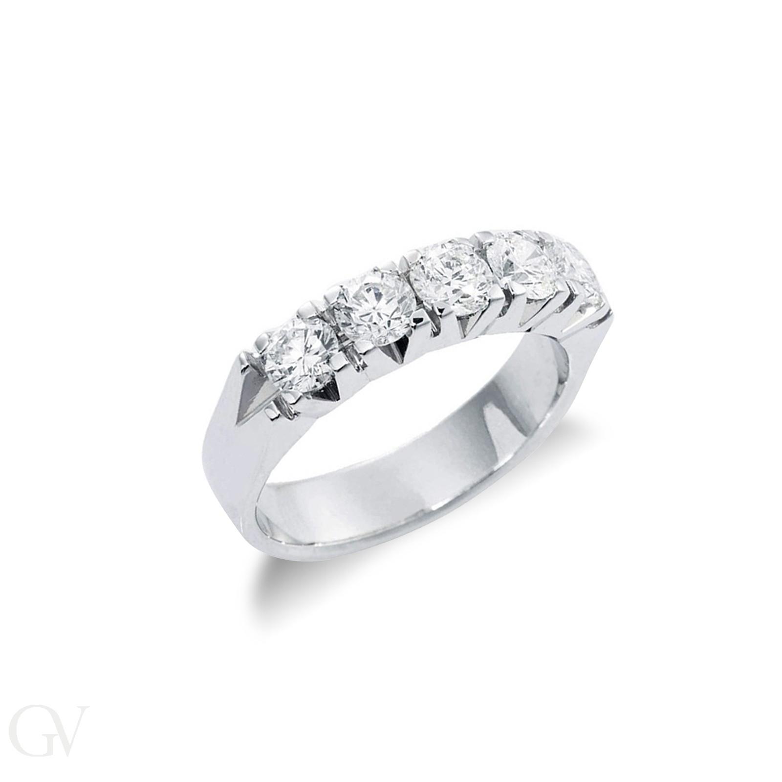 Anello Veretta in Oro bianco 18k con cinque diamanti ct. 1,25