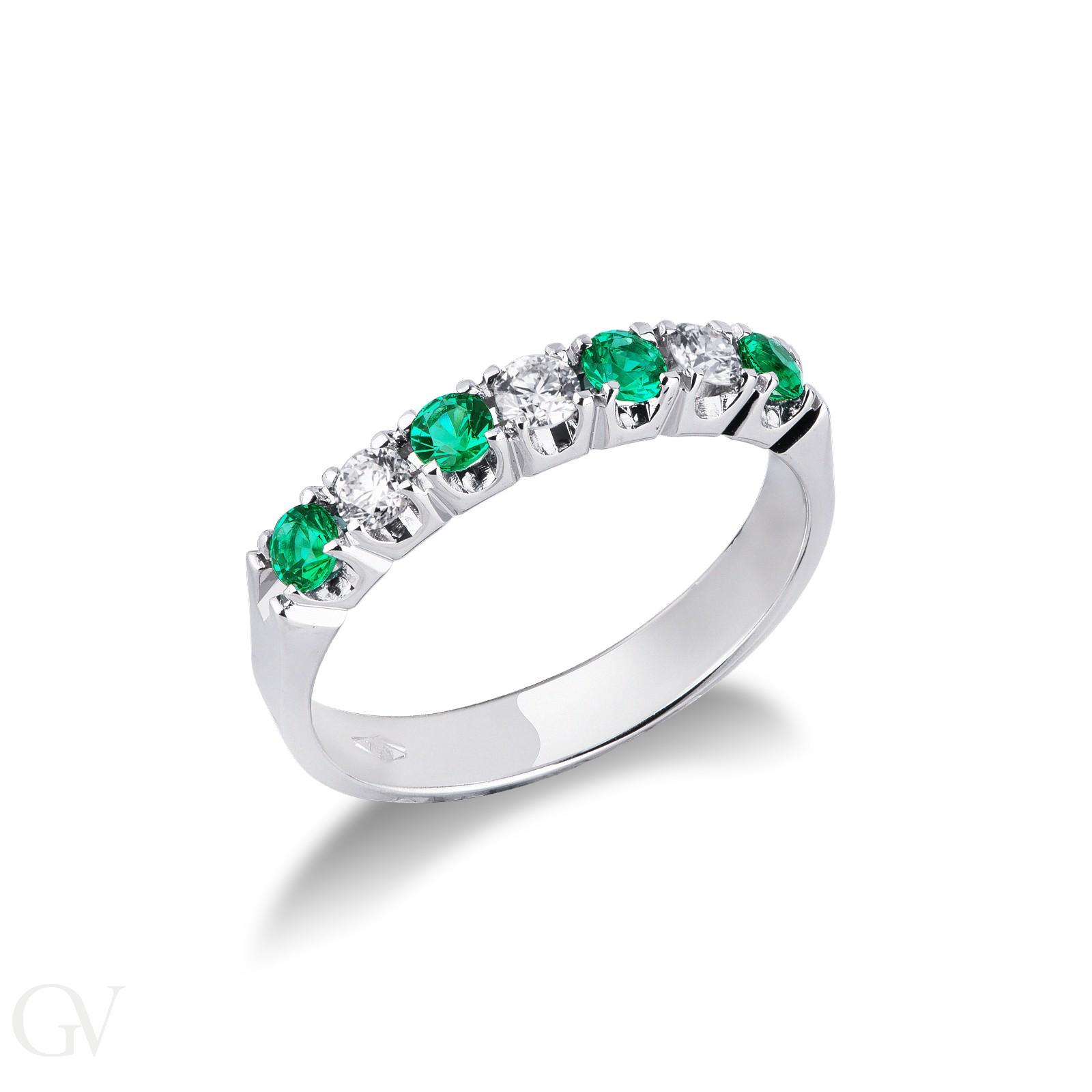 Anello Veretta a 7 pietre in Oro bianco 18k con Diamanti e Smeraldi
