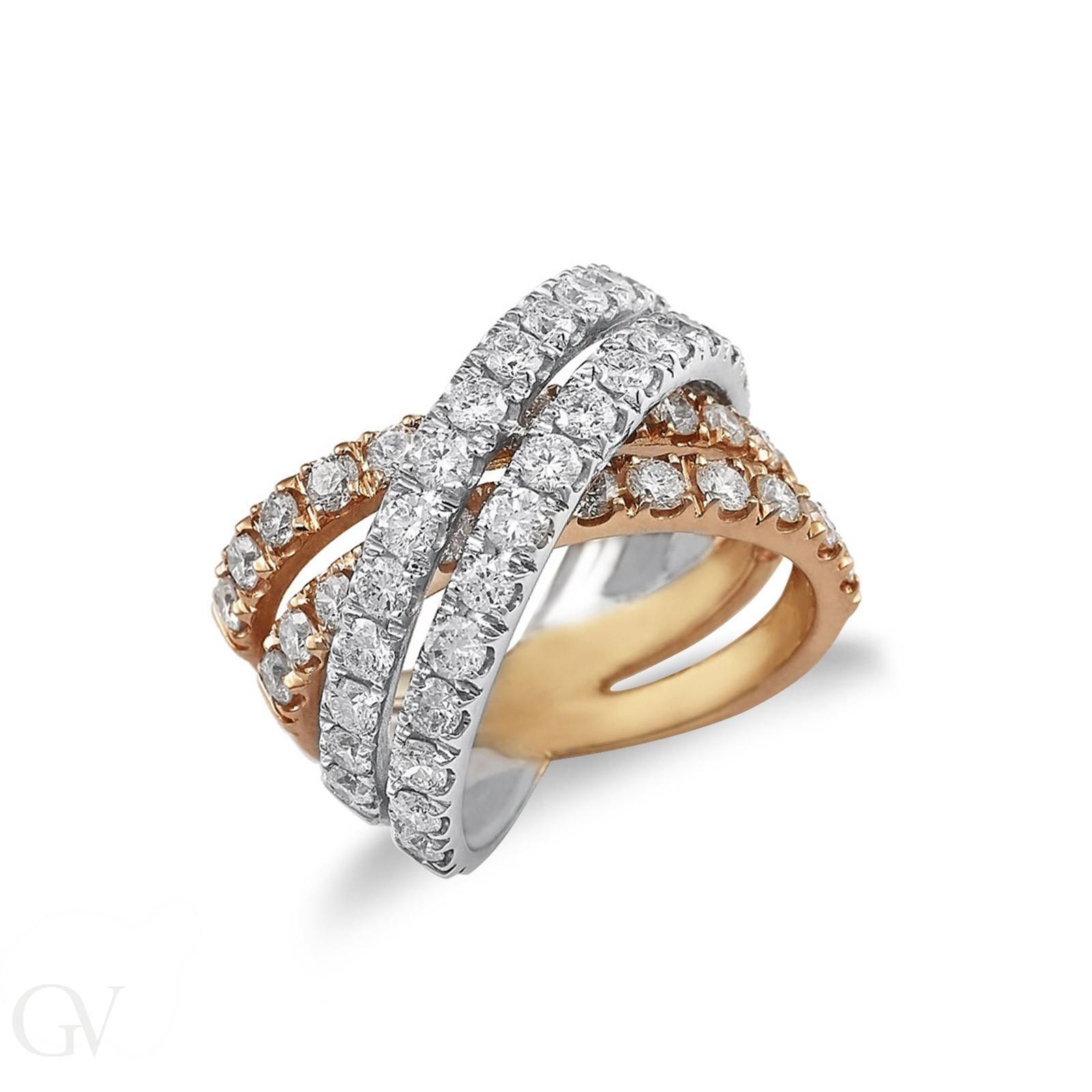 Anello intrecciato in oro bianco e rosa 18kt con diamanti