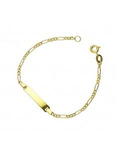 Bracciale in oro giallo 18k con piastrina incidibile.
