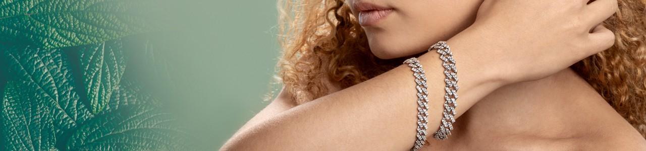 Bracciale groumette donna: oro bianco e diamanti | Gioielli di Valenza
