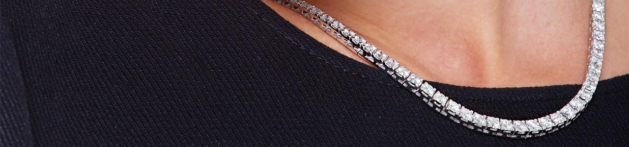 Collana tennis donna: oro bianco e diamanti | Gioielli di Valenza