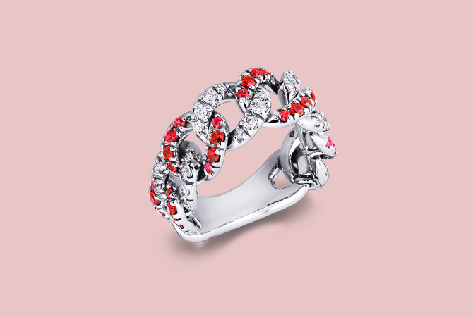 NAN5417BBR Anello groumette in Oro Bianco 18k con Diamanti e Rubini gioielli-di-valenza