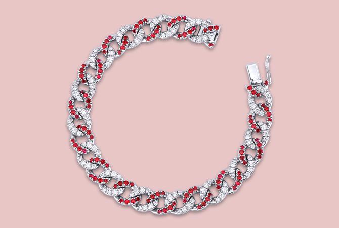 NBRA5418BBR Bracciale maglia groumette in oro bianco 18k con Rubini e Diamanti Gioielli di Valenza