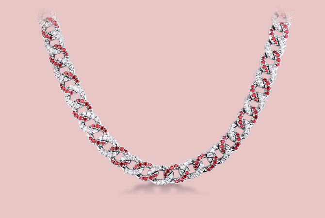 NGIR5419BBR Collana maglia groumette in oro bianco 18k con Rubini e Diamanti Gioielli di Valenza