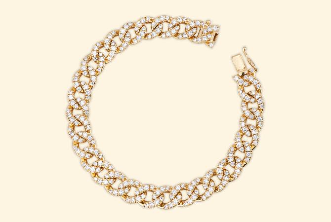 NBRA5418GB Bracciale maglia groumette in oro Giallo 18k con Diamanti giallo-gioielli-di-valenza