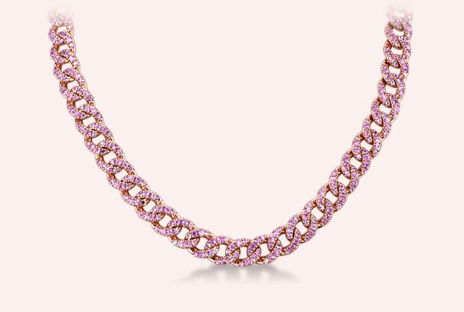 NGIR5419RZ-ROS-Collana-maglia-groumette-in-oro-rosa-18k-con-Zaffiri-Rosa-collezione-parure-gioielli-di-valenza