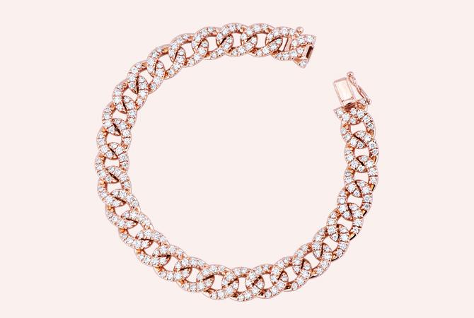 NBRA5418RB-Bracciale-maglia-groumette-in-oro-Rosa-18k-con-Diamanti