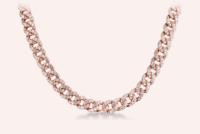 NGIR5419RB-Collana-maglia-groumette-in-oro-rosa-18k-con-Diamanti-parure-oro-rosa-gioielli-di-valenza