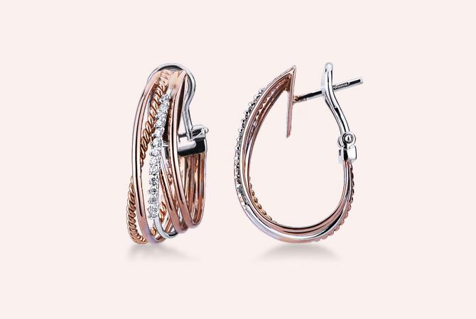MNOR17379RB-Orecchini-intreccio-in-oro-bianco-e-rosa-18k-con-Diamanti-gioielli-di-valenza-rio-collezione-parure